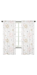 Blush Pink, Gold, Grey and White Star and Moon Window Treatment Panels Curtains for Celestial