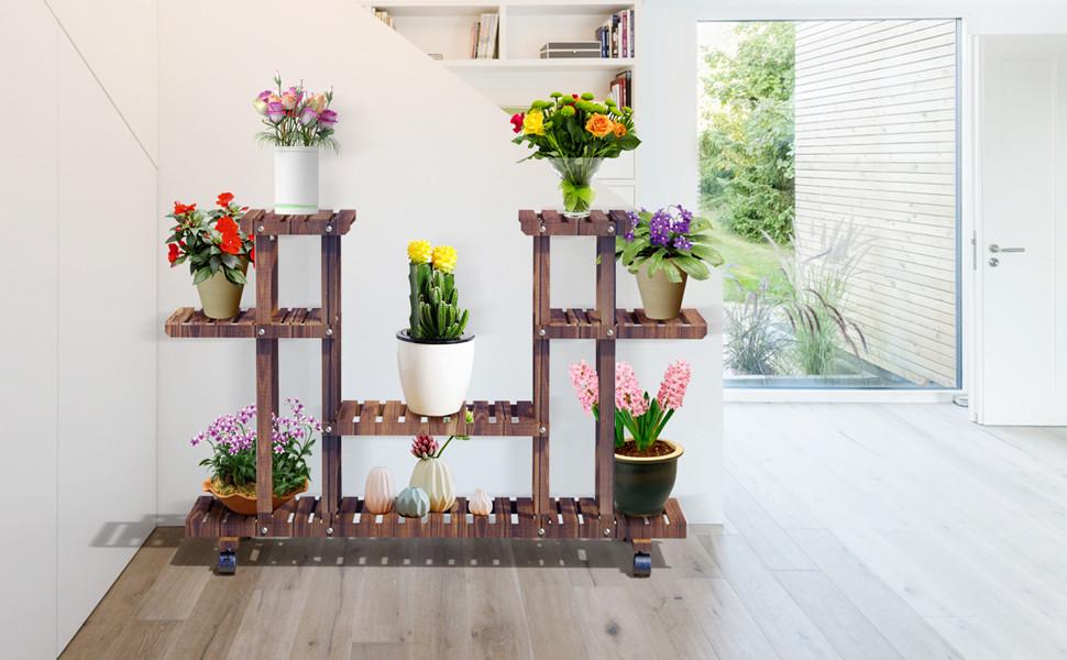 4-Layer Wooden Flower Stands Rolling Flower Plant Display Shelf Storage Rack