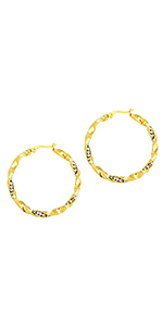 CZ Twisted Hoop Earrings