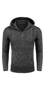 men hooded cradigan sweater