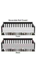 Grey and White Boho Tribal Herringbone Arrow Unisex Baby Long Front Crib Rail Guard Teething Cover