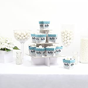 Hello Little One Blue Silver Glitter Boy Baby Shower Candy Boxes