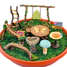 fairy garden accessories supplies tools mini miniature swing ladder slide birdbath table chairs