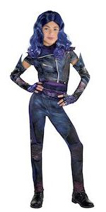 mal costume, descendants 3, colorful jacket and leggings with accessories, vibrant patterns