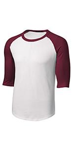 Mens or Youth 3/4 Sleeve 100% Cotton Baseball Tee Shirts