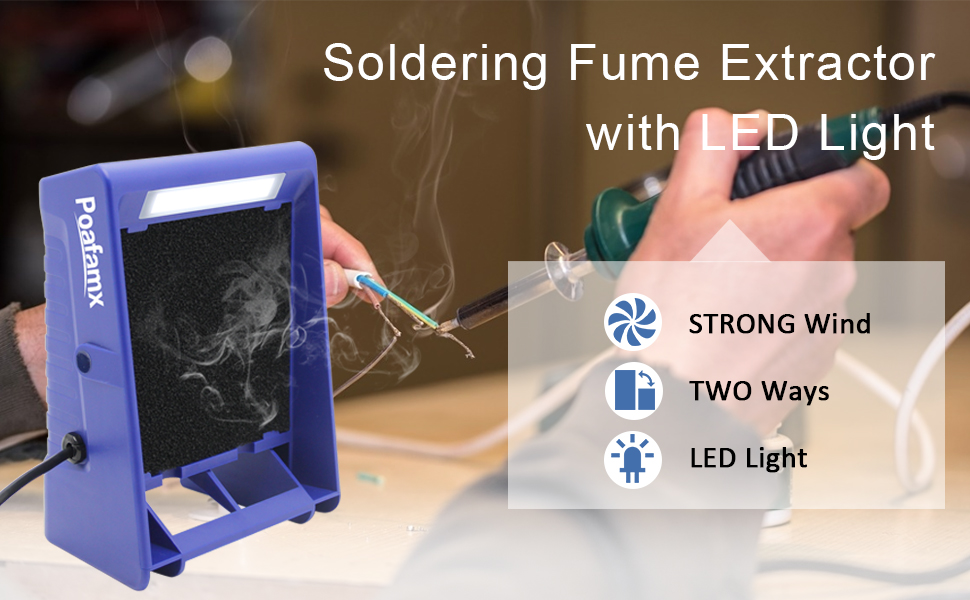 solder fume extractor with LED light strong wind two ways of smoking