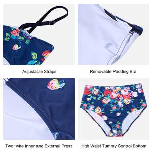 MARINAVIDA Women's Two Piece Bathing Suit Ruffle Top Retro Printed Tankini High Waist Swimsuit