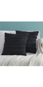 Black Cotton Stripe Pillow Covers