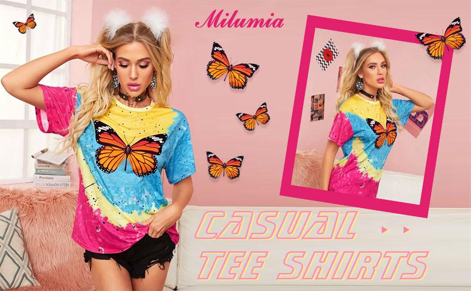 Milumia Women Casual Butterfly Tie Dye Tee