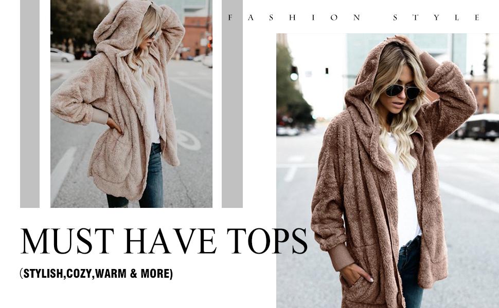 ZEGOLO Womens Fluffy Jacket Sherpa Coat Faux Fuzzy Shaggy Long Cardigan Hooded Warm Winter Outwear with Pockets