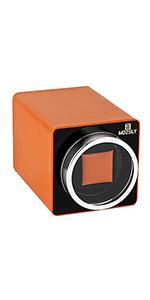 orange leather watch winder