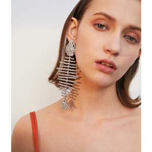 Sparkly Crystal Large Fish Bone Drop Dangle Earrings Model Show
