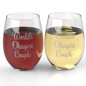 Worlds Okayest Couple Stemless Wine Glasses