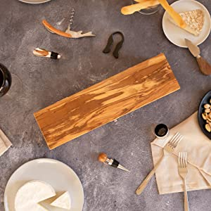 Thirteen Chefs Olive Wood Wine Box with Corkscrew, Cork, Foil Cutter and More