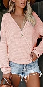 ETCYY Women's Sweatshirts Pullover for Women Long Sleeve Tunic with Cowl Neck Zip Tops
