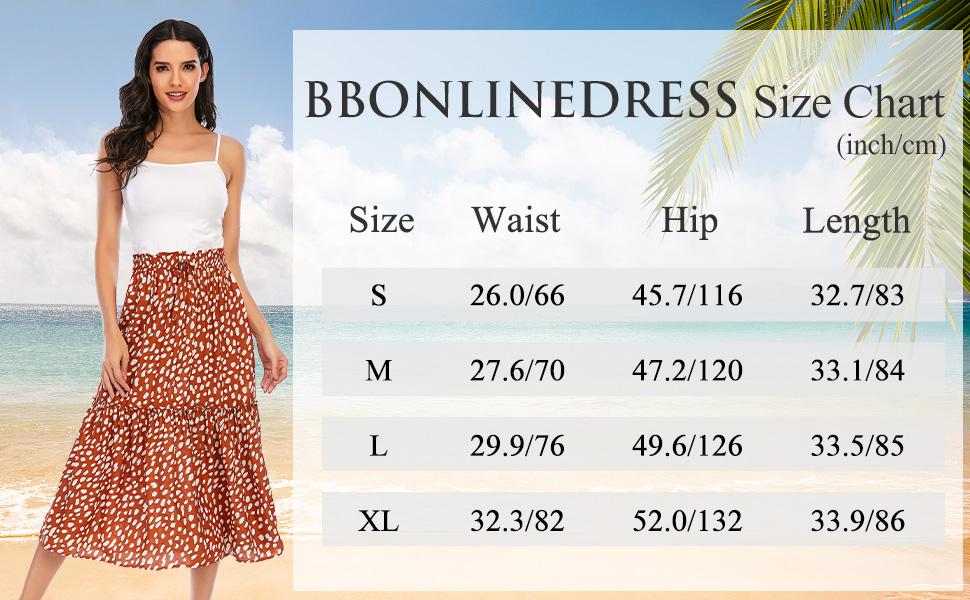 summer skirt boho skirt casual for women beach midi skirt for summer wear floral dress casual summer