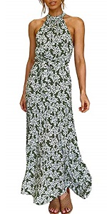Summer Halter Neck Sleeveless Strapless Floral Print Split Beach Maxi Dress