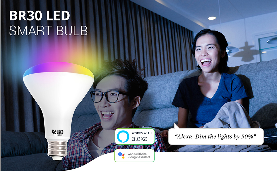 WiFi LED Smart Bulb, BR30, Dimmable, 650 LM, Compatible with Amazon Alexa & Google Assistant