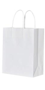 Medium White 8*4.75*10 inch 50Pcs Kraft Bags