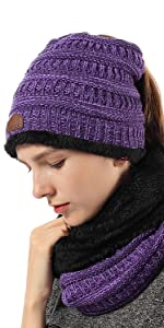 womens ponytail knit beanies
