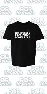 Pop Threads Feminist Empowered Women She Persisted GRL Pwr Toddler Kids Girl Boy T-Shirt