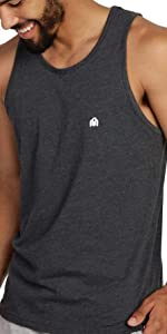 INTO THE AM model wearing Charcoal Basic Men's Tank Top