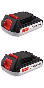 2-Pack 20V Battery for Black+Decker 20v Tools