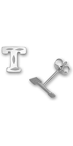 White Gold Small Sparkle-cut Alphabet Initial Stud Earrings