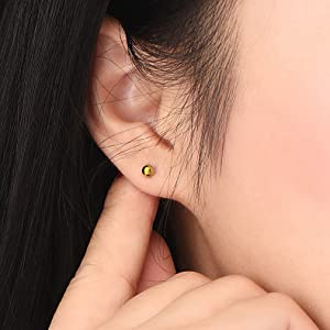 18K Gold Plated Sterling Silver Ball Stud Earrings 3mm-10mm Options Simple Polished Ball Studs Hypoallergenic Jewellery