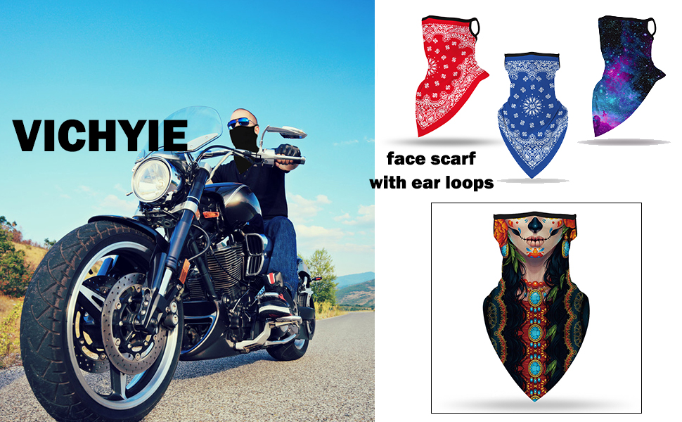 VICHYIE Face Bandana Ear Loops Face Balaclava Men Women Neck Gaiters for Dust Wind Motorcycle
