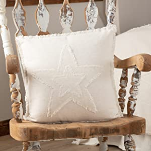 vhc brands, april & olive, burlap antique white, star, ruffled, throw, pillows, country, farmhouse