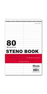 """BAZIC 80 Ct. 6"""" X 9"""" White Paper Gregg Ruled Steno Book"""