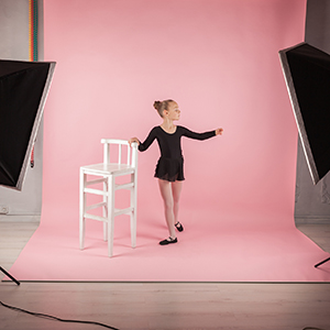 Ballerina on Pink Background Paper