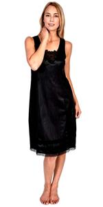 womens ladies slip snip it black silk skirt dress full half lace comfortable smooth natural plus