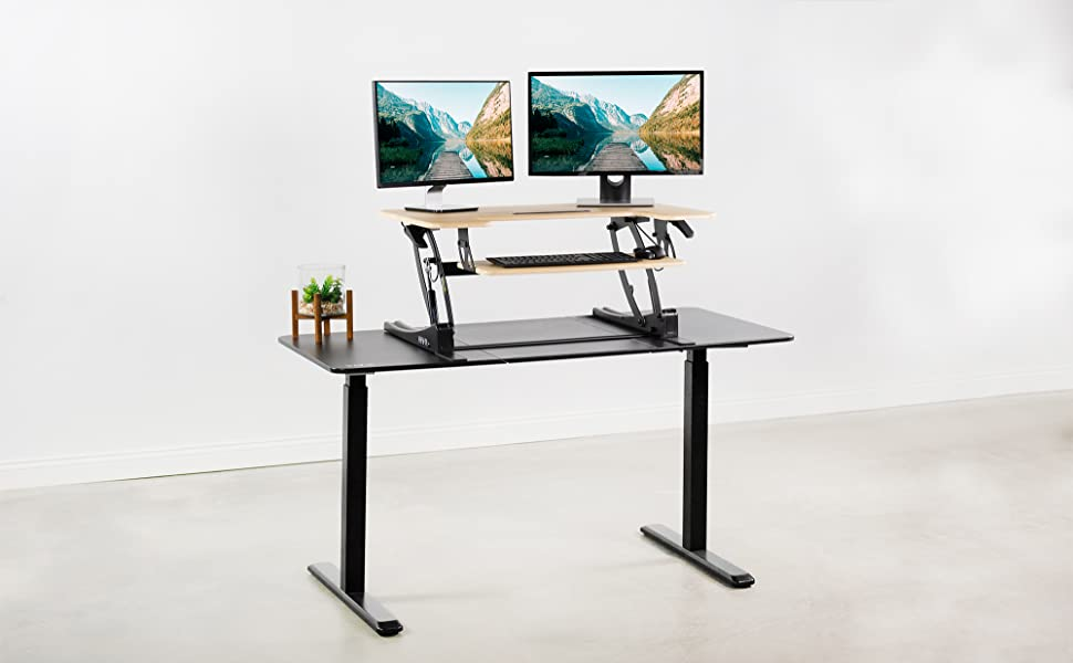 height adjustable desk riser banner