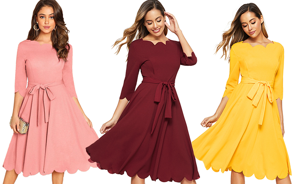Milumia Women's ElegantBelted Fit & Flare Midi Scallop Party Dress