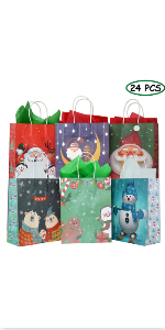 24 Pack Christmas Kraft Gift Bags with 24 Tissue Papers