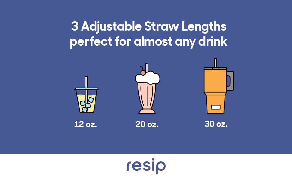 resip features 3 adjustable straw lengths, perfect for cups, glasses and water bottles