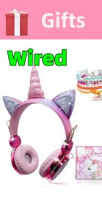 Unicorn Kids Headphones Girls Children Teens Wired Over Mic for School Birthday Xmas Unicorn Gifts