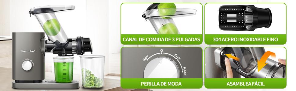 Slow Juicer Machines Slow Masticating Juicer Cold Press Juicer Vegetables&Fruits Extractor BPA-Free
