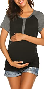 Layered Sleeveless Pregnancy T Shirt Breastfeeding Clothes