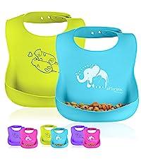 silicone baby bibs waterproof toddler feeding easy clean BPA Free hangry foodie