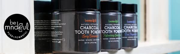 invitamin bemndful tooth powder toothpaste activated charcoal carbon teeth whitening stain removal