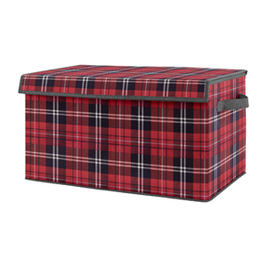 Red and Black Woodland Plaid Flannel Boy Baby Nursery or Kids Room Small Fabric Toy Bin Storage