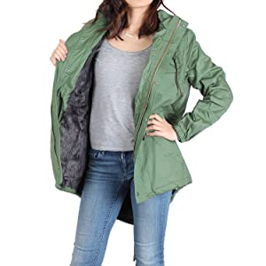 fuax fur lined jacket for warmness and comfort