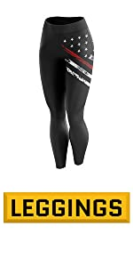Women's Yoga Leggings with Flag - Thin Blue Line - Thin Red Line Patriot
