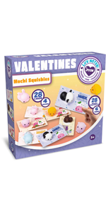28 Pack Valentines Day Gift Cards with Gift Cute Kawaii Mochi Squishy