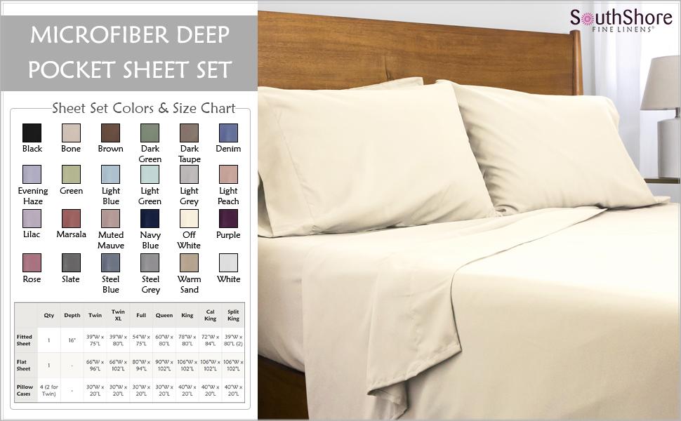 Off White Microfiber Deep Pocket Sheet Set