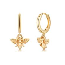 Gold Bee Huggie Hoop Earrings