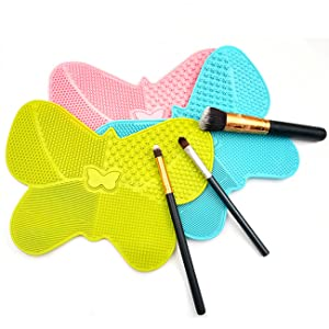 Makeup brush cleaning mat butterfly